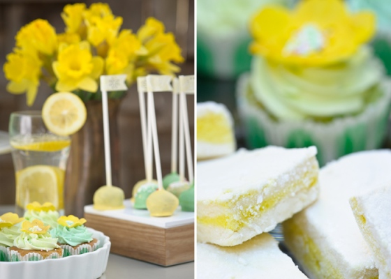 Amy Atlas cake pops lemon bars green yellow