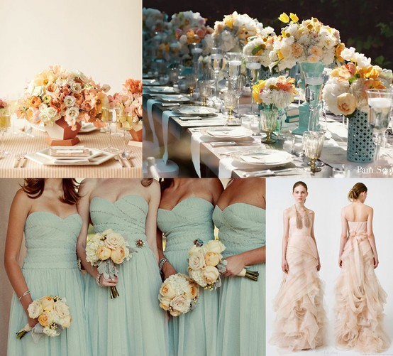 Mint and Peach gowns and table decor