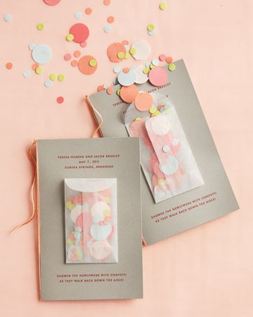 Attach a small envelope of peach confetti to programs