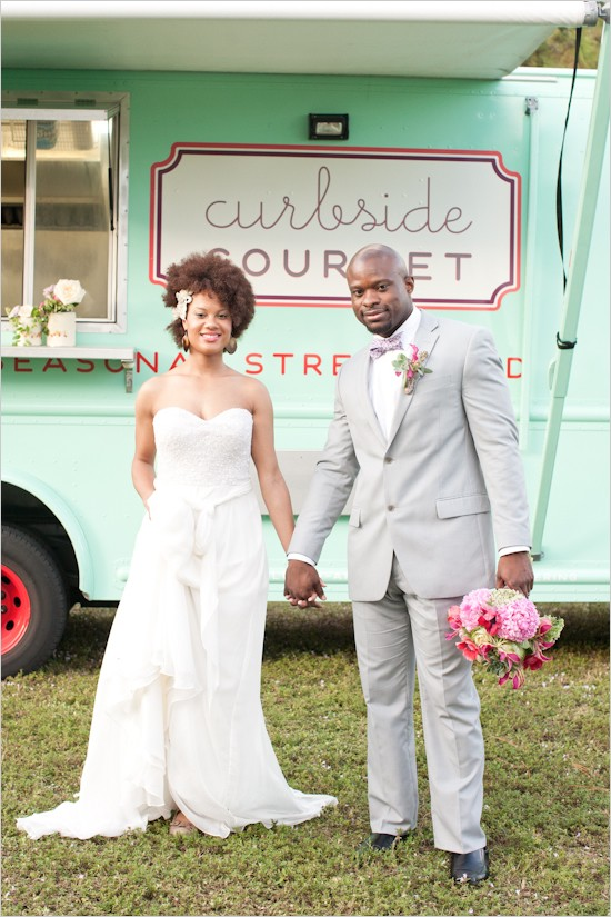 Ditch the traditional buffet and have a food truck cater your wedding.