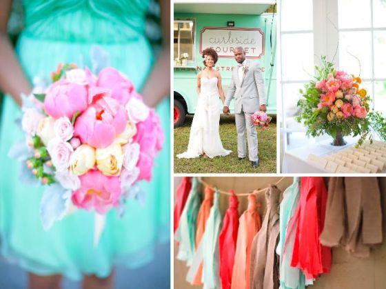 mint, coral, wedding, inspiration, wedding planner, orange county