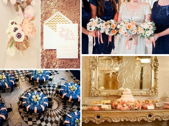 rose gold, navy, wedding, inspiration, wedding planner